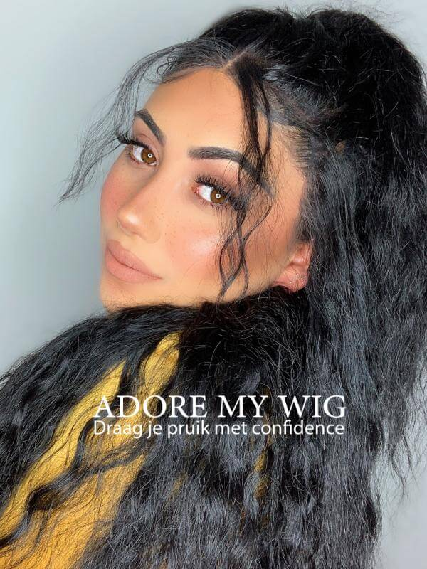 zwarte lace curly wig