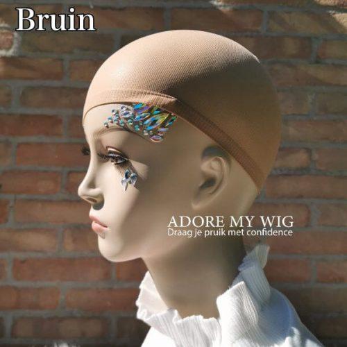 Bruine wig cap huidskleur