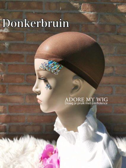 Donkerbruine wig cap