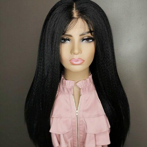 black hair pruik yaki lace wig