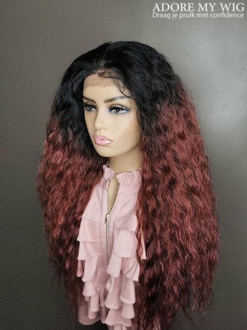 rood haar curly wig pruik