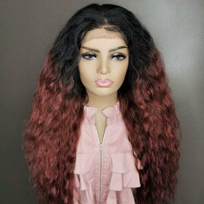 rood haar lange krullen pruik