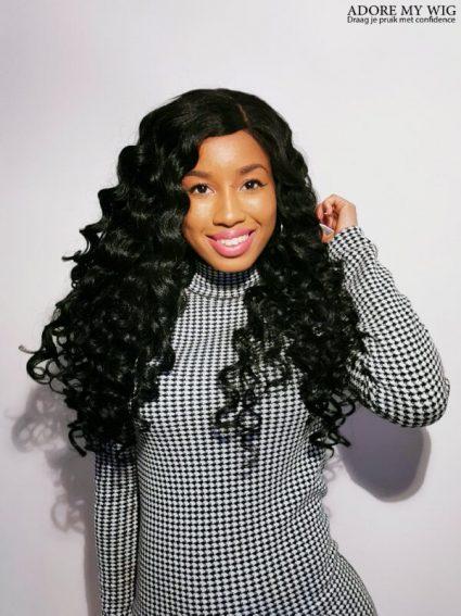 Zwarte Curly Wig Adore My Wig