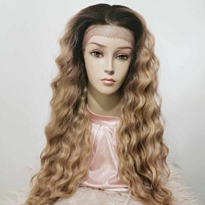 Prachtige Curly Lace Front Wig Blond Ombre