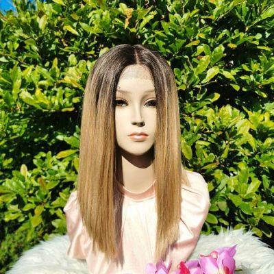 Bruine bob lace wig
