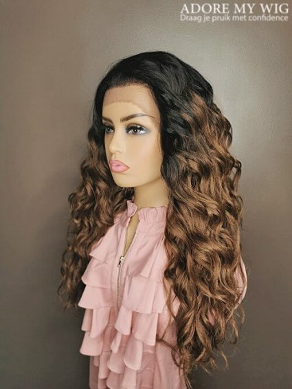 ombre bruine curly wig