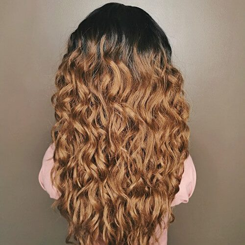 bruine krullen 13x4 lace wig