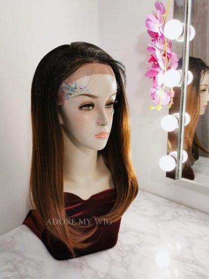 Straight lace wig brown