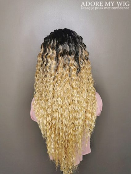 Ombre Blond Kinky Curly Wig
