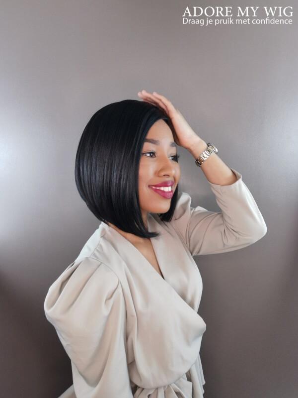 asymmetrische bob wig zwart