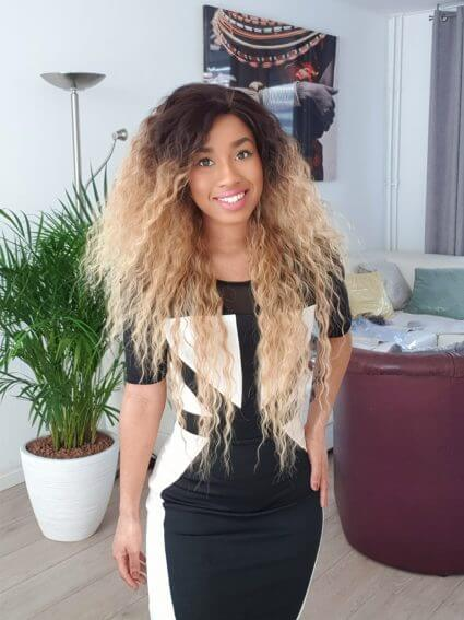 blonde curly wig ombre