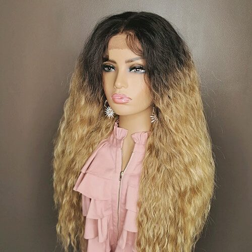 Ombre blonde curly wig