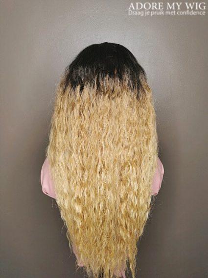 Ombre blonde curls wig lang