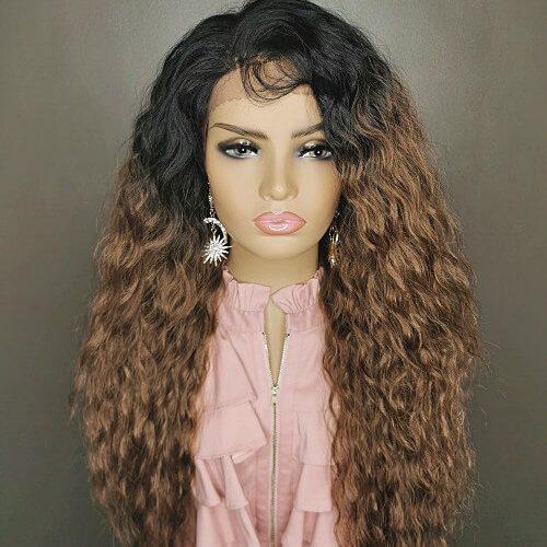 Ombre bruine krullen wig