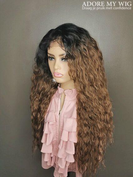 13x4 Ombre bruine krullen wig