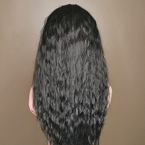 curly lace wig zwart