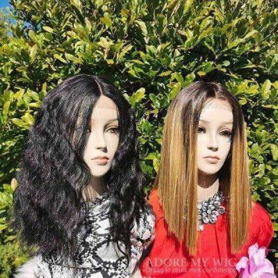 Zwarte en bruine bob lace wigs