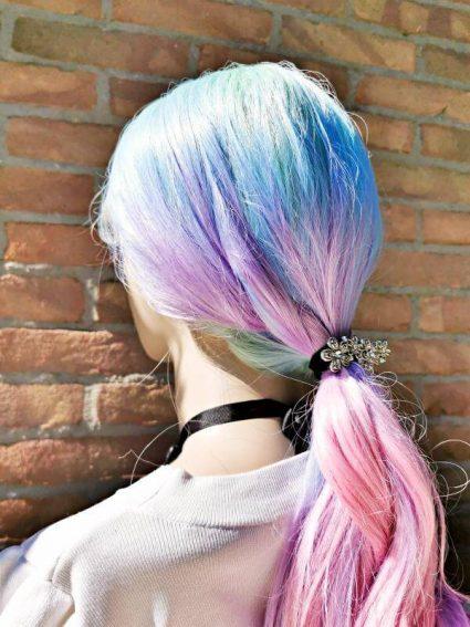 unicorn wig roze blauw