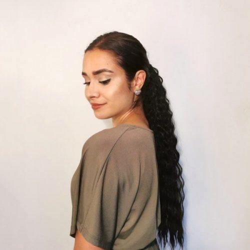 clip-in ponytail zwart