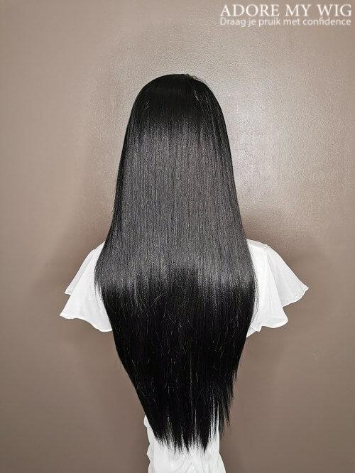 zwarte lace wig lang