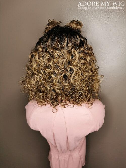 Curls grijs bruin lace wig