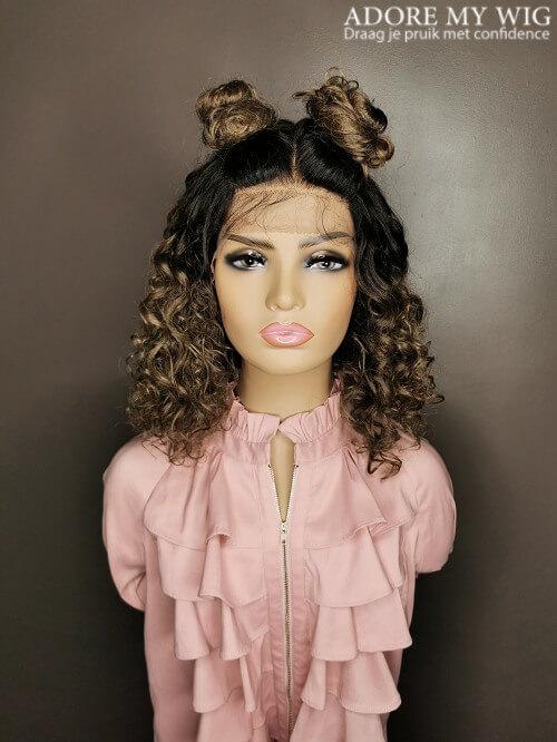 Grijs-bruine Half UpDo Wig