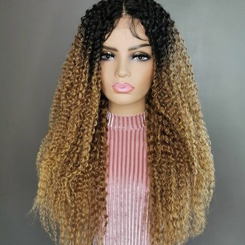 Kinky Curly Wig Ombre Bruin